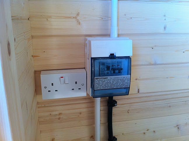 electrics consumer unit thirsk log cabin installation, garden log cabin installed near shed fuse box at soozxer.org