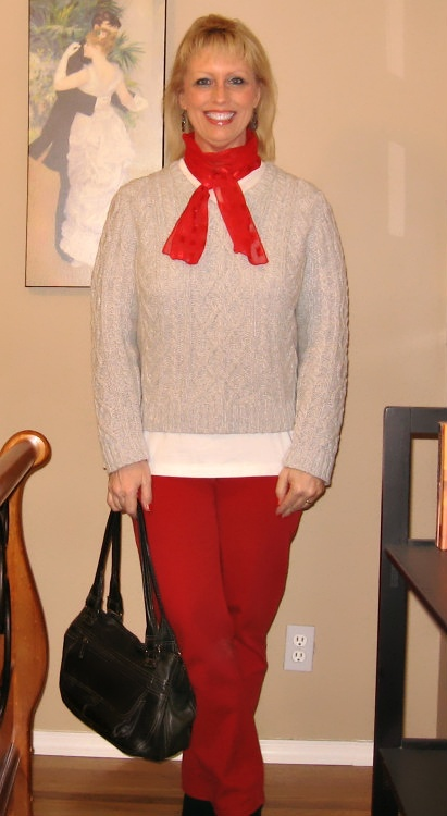 Gray Sweater With Red Scarf