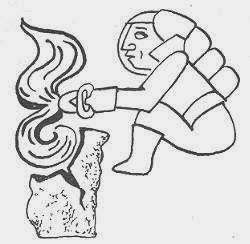 Древний мастер обрабатывает камень ручным инструментом, искусство индейцев ольмеков древней Америки, фрески