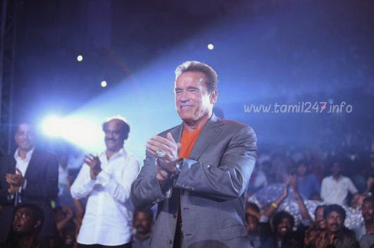 Arnold Schwarzenegger teach a lesson in director Shankar Ai tamil Movie  Music release function, Tamil film Ai music release on 15th Sep 2014