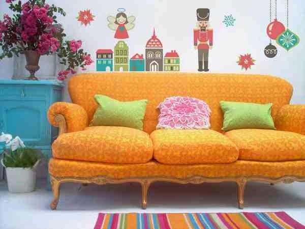 Bożonarodzeniowa dekoracja salonu naklejki nad sofą