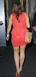 Imogen Thomas in Louboutins and red dress