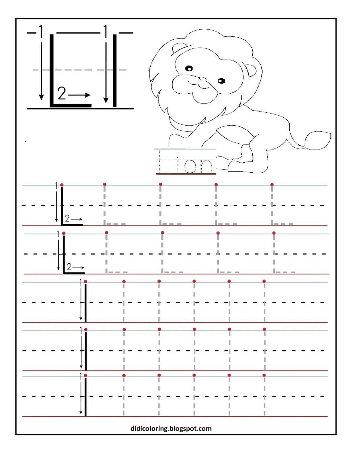 free printable worksheet letter l for your child to learn