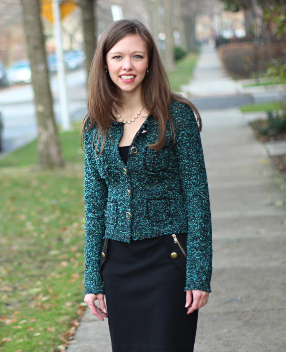StyleSidebar - Multi green tweed jacket, black skirt with gold buttons