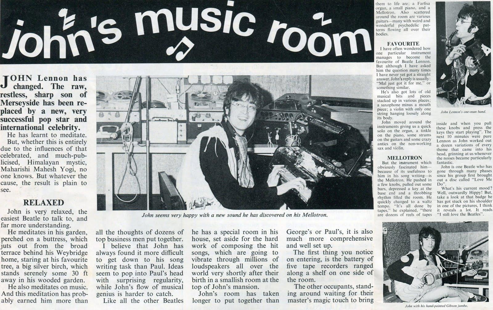 John Lennon Home Studio Article