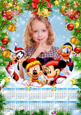 Calendário infantil de Ano Novo para 2014 com moldura