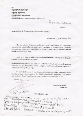 Angola: MANIFESTAÇÃO EM LUANDA, SÁBADO DIA 14 DE JULHO
