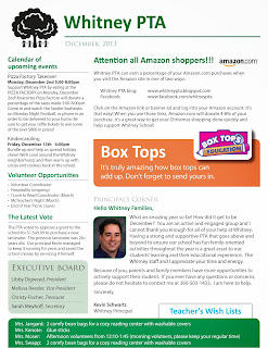 Whitney PTA December newsletter - page 1
