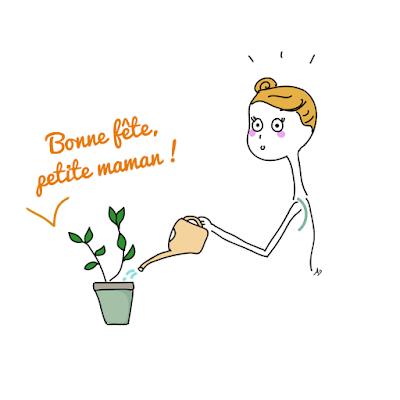 Fête des mères, arroser des plantes, dessin, illustration