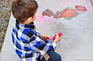 "painting the side walk with ""chalk paint"""
