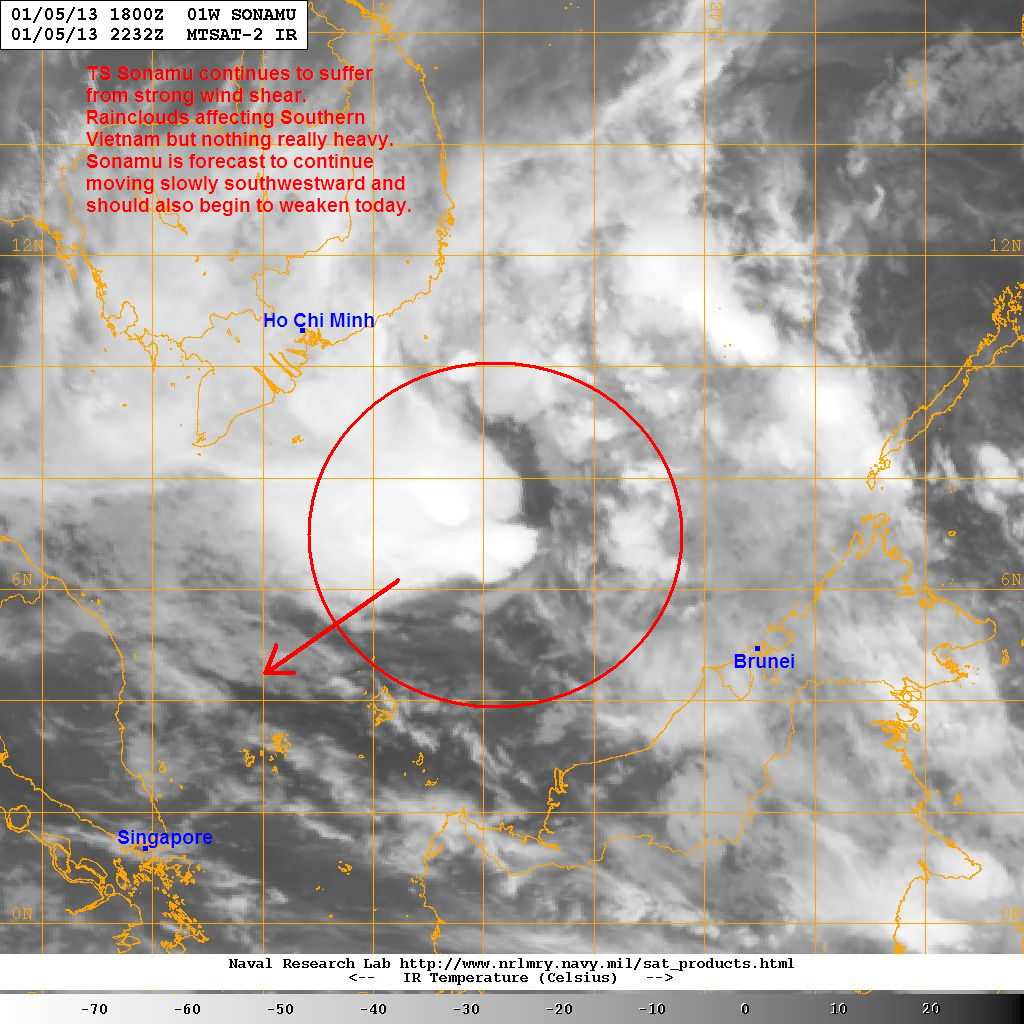 tropical storm sonamu continues to suffer from strong southeasterly wind shear the image below shows how asymmetrical sonamu looks right now with much of