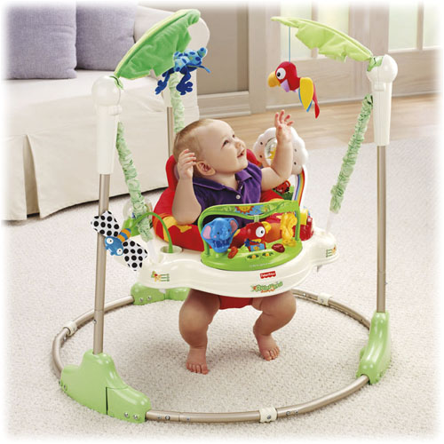 Fisher price rainforest jumperoo why buy when you can rent for Door jumperoo