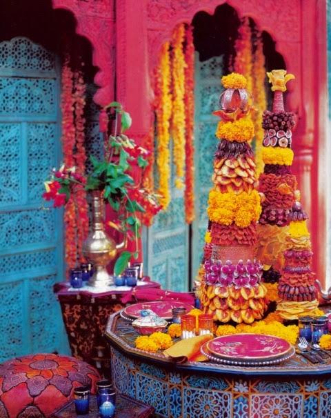marigolds, jaipuri, moghul, beautiful plates, tablescape indian, indienne