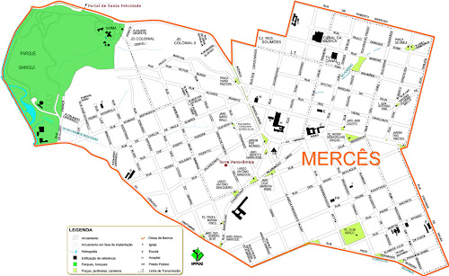 Mapa do bairro Mercês - Curitiba