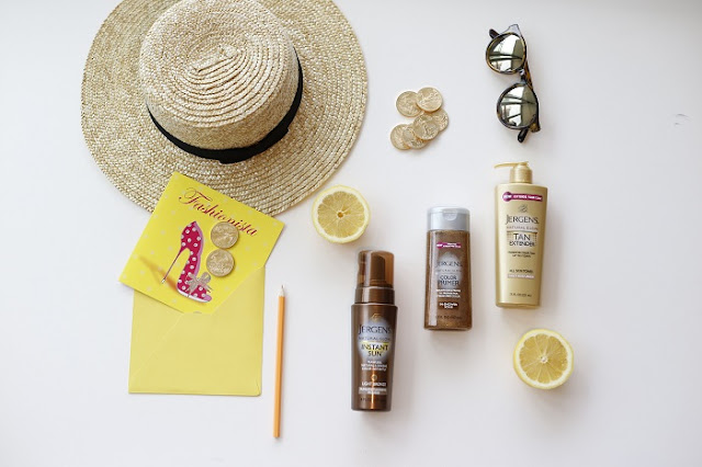 Lack of color straw hat, le specs sunglasses, jergens instant sun collection, sun tan lotions, tanning lotions