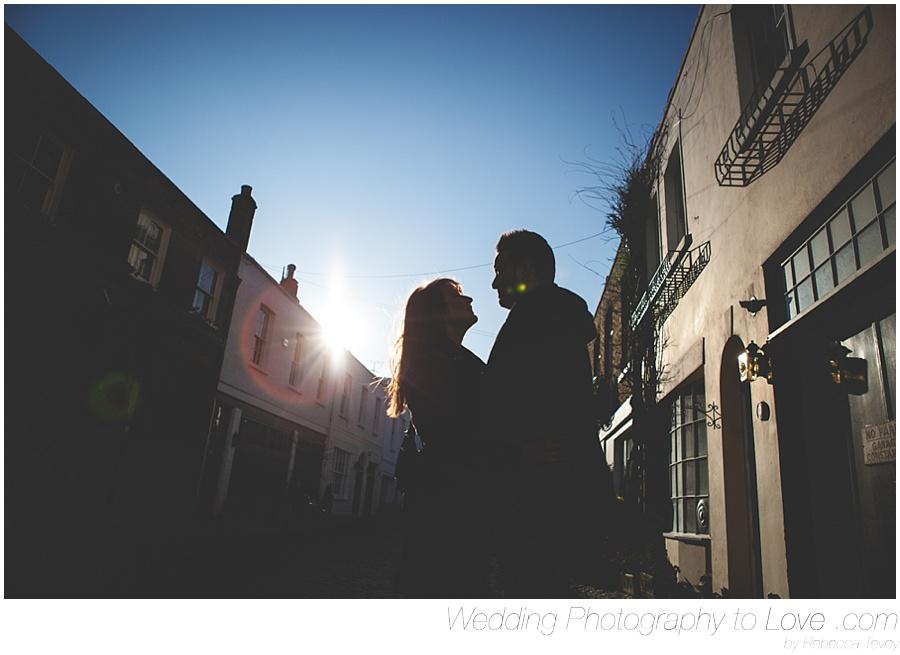 couple silhouetted on London Street