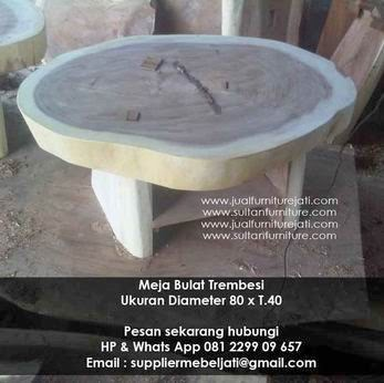 Papan Trembesi Meja Coffee Table Bulat Antik Pusat Mebel Suar Jepara