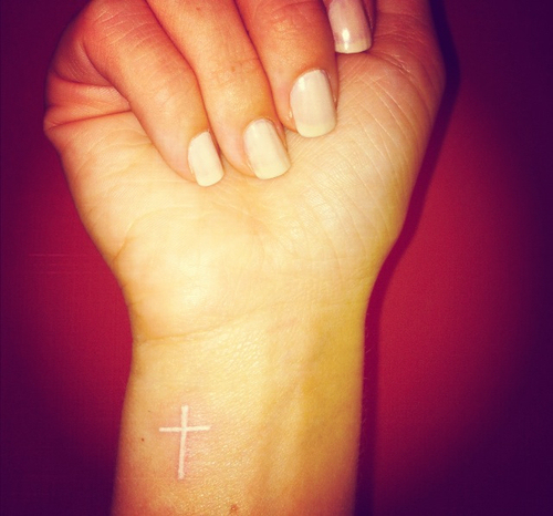 White Ink Cross Tattoo On Wrist