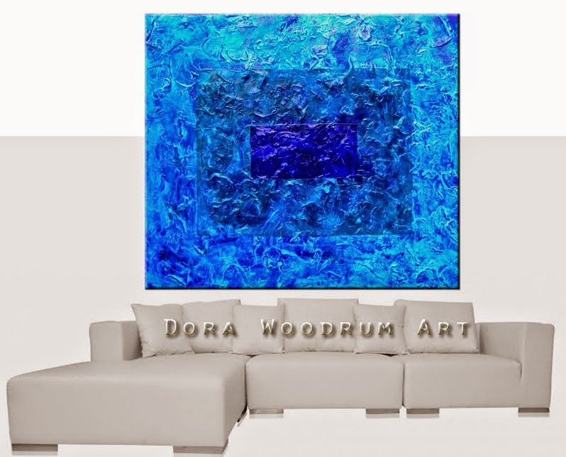 "Abstract Painting ""Miami Blue"" by Artist Dora Woodrum"