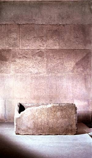 Pink granite resonator sarcophagus of Khufu pyramid