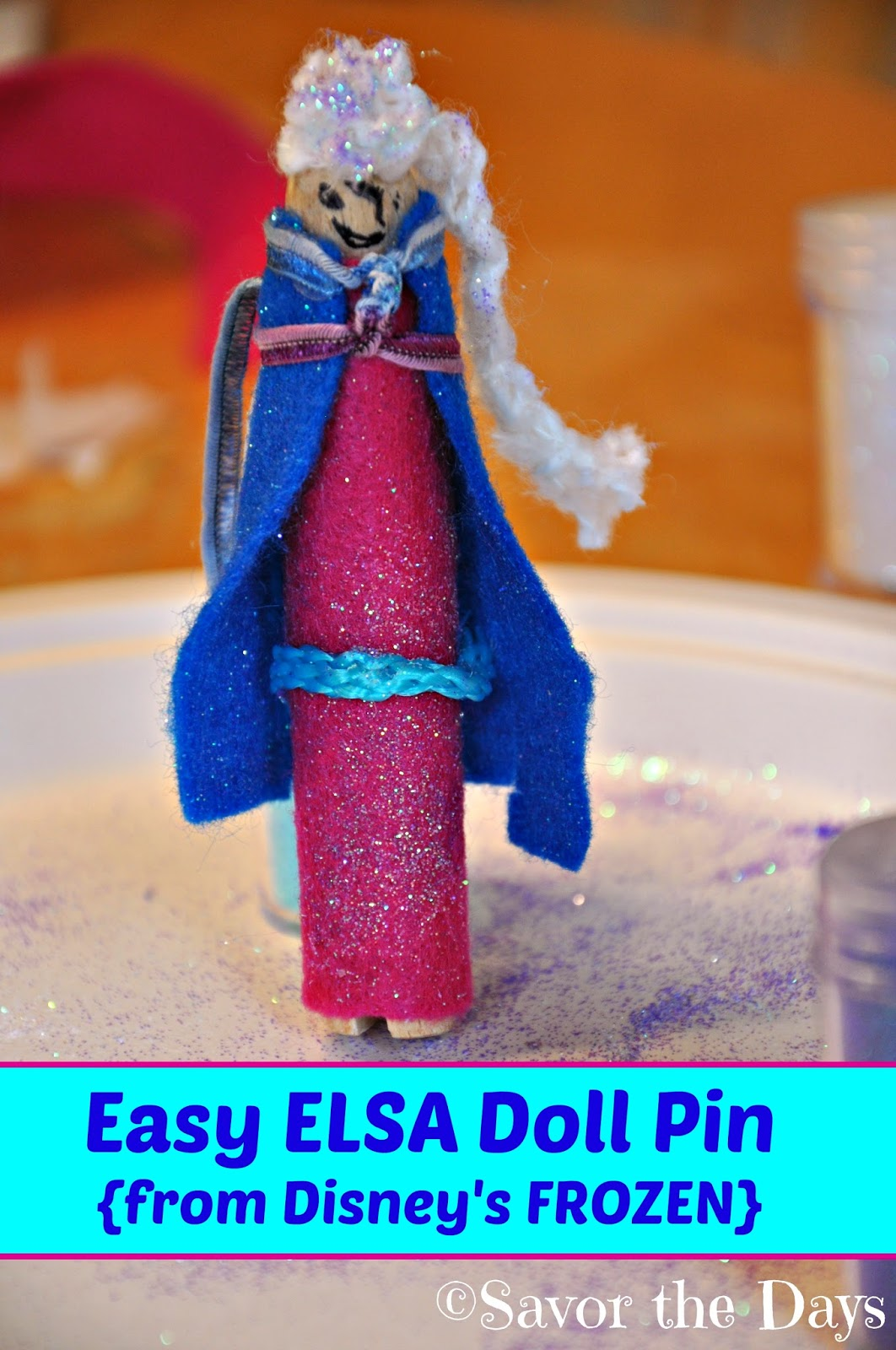 Easy Activity for Kids: Elsa Doll Pin Craft