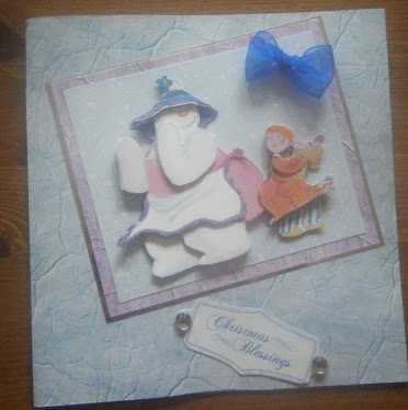 DECOUPAGED SNOWMAN CHRISTMAS CARD