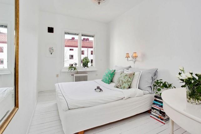 Habitación nórdica y femenina en tonos verdes