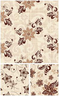 春を彩る茶系の花柄パターン brown floral patterns with spring related ornaments  イラスト素材