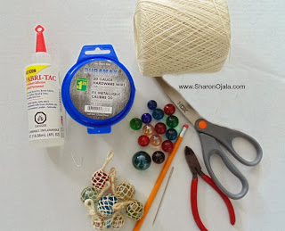 fabric-tac marbles scissors wire thread needle