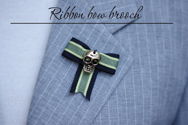 Skull ribbon bow brooch. Step by step tutorial designed by Xenia Kuhn for lifestyle blog www.fashionrolla.com