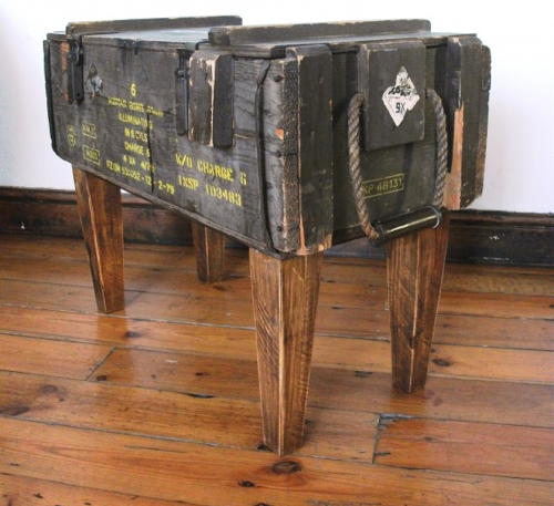 Hammers and high heels antique store find military crate for How to turn a trunk into a coffee table