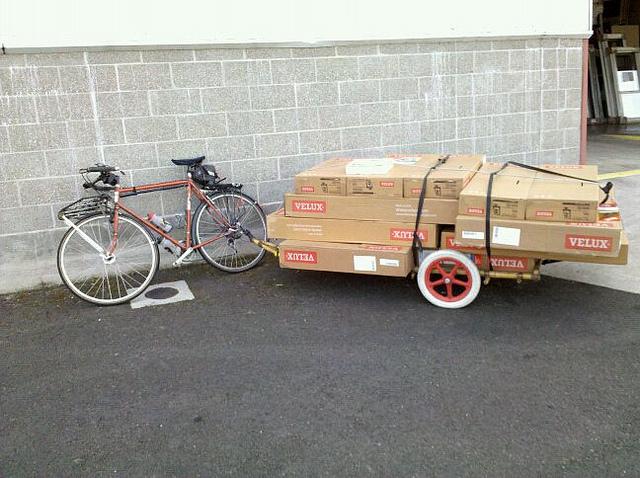 Bambu usado na construção de trailers de bicicletas