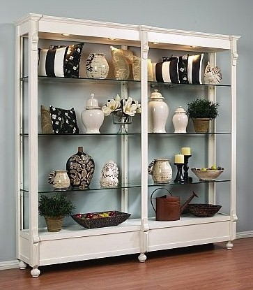 Attirant Revo, Open Glass Shelves Display Cabinet With Four Halogen Lights Top