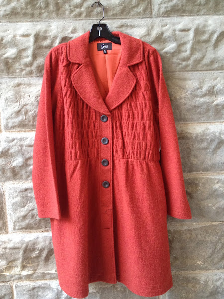 Rust boiled wool coat.  $158