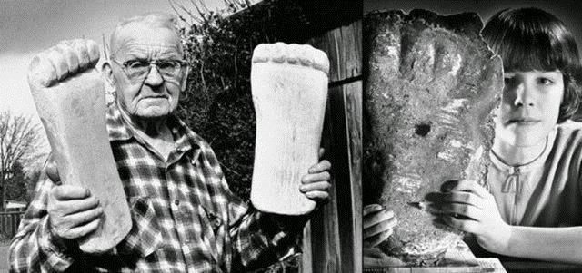 """Foto-foto warga yang menyatakan pernah melihat manusia Bigfoot dan mendapatkan """"bukti"""" jejak kaki mereka. (National Geographic)"""