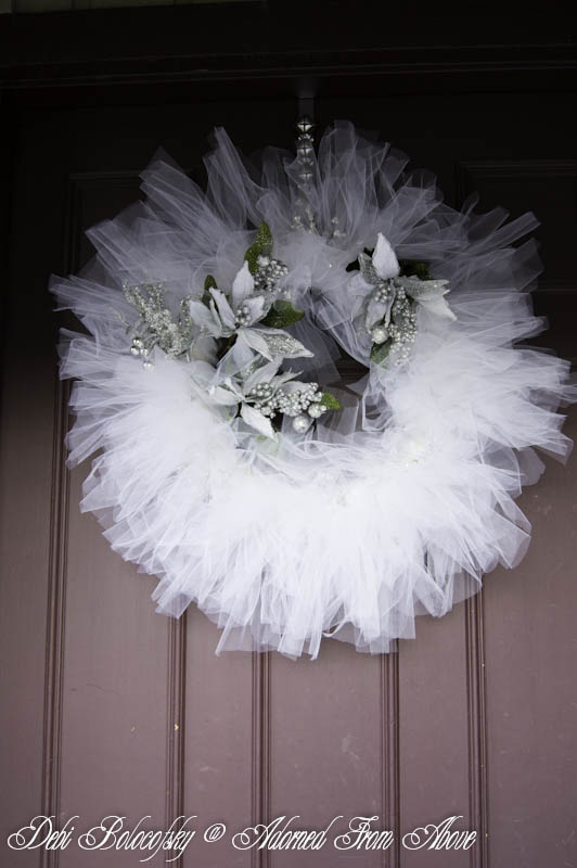 Adorned From Above White Tulle Christmas Wreath