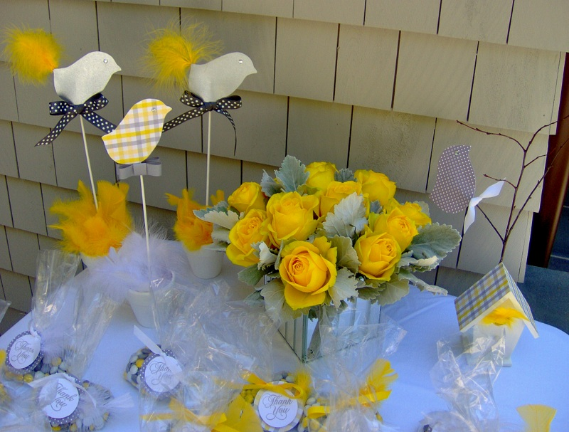 Yellow and Gray Baby Shower Favor/Cake Table