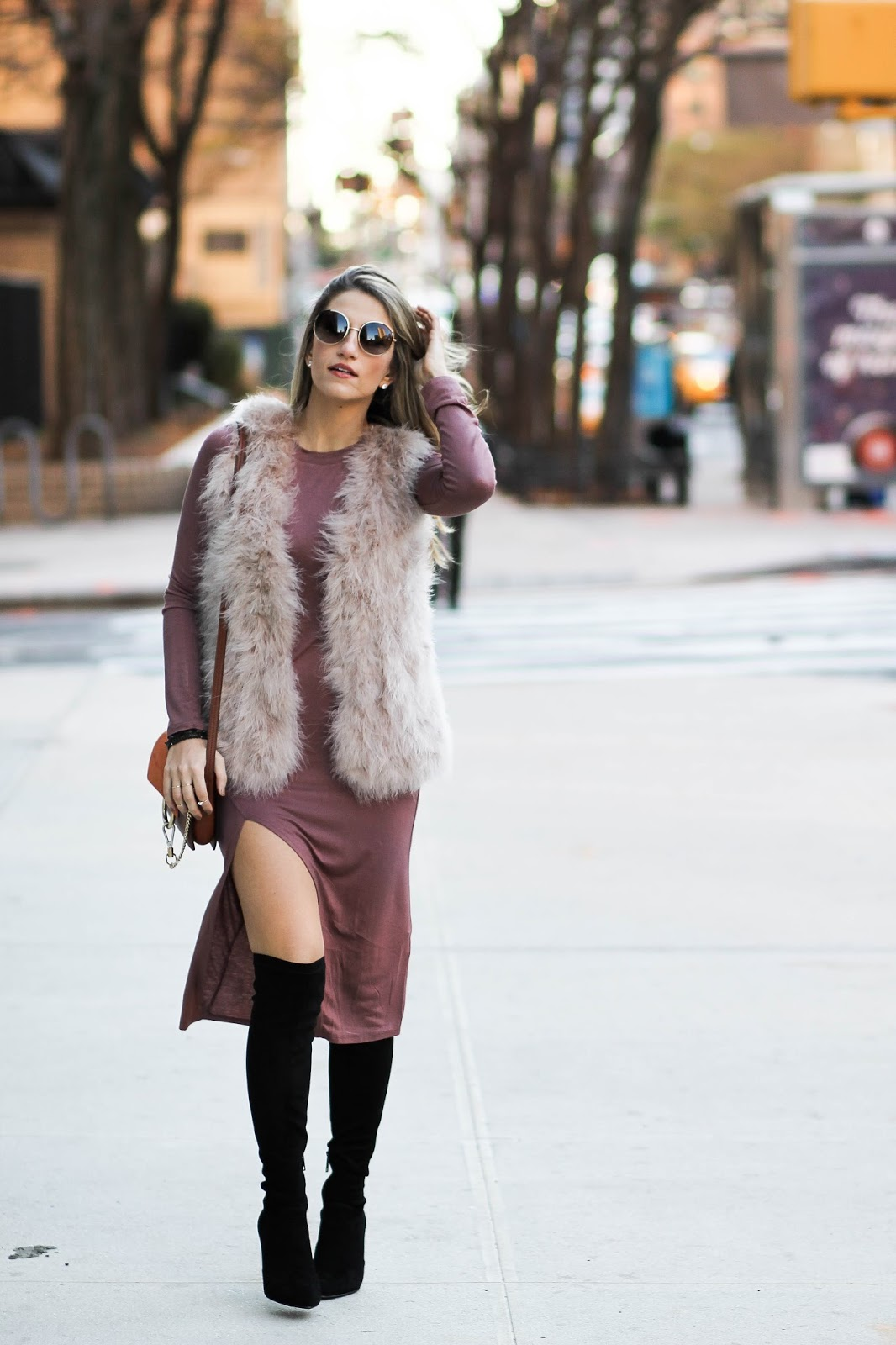 blush rabbit fur vest, dressed for dreams