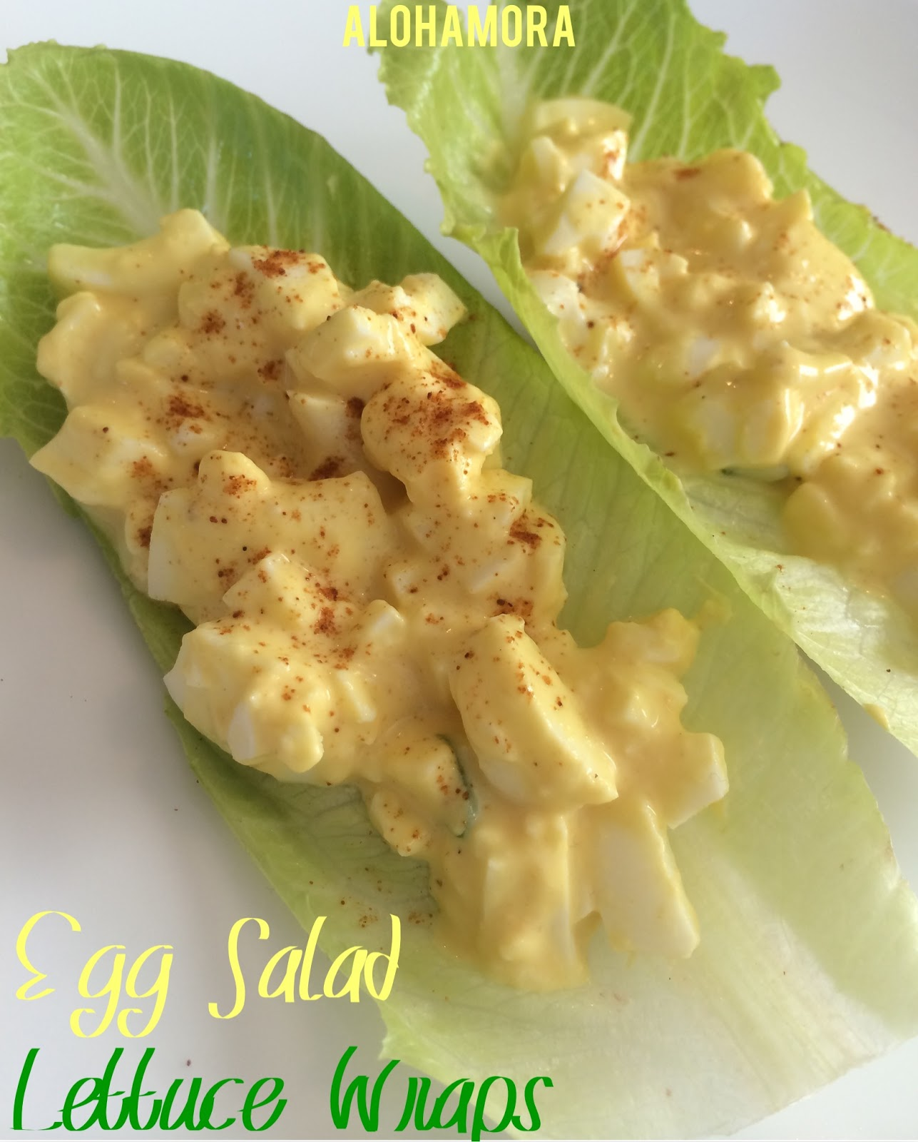 Classic egg salad just the way grandma made them, but on crisp lettuce leafs for a healthy touch.  Quick and easy lunch or dinner full of protein, and it's a great way to use up leftover hard boiled eggs from Easter. Alohamora Open a Book http://www.alohamoraopenabook.blogspot.com/