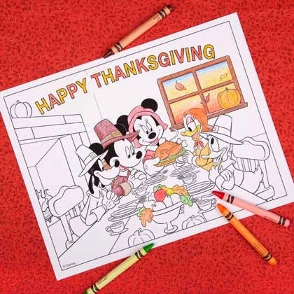 FREE Printable Disney Thanksgiving Coloring Page