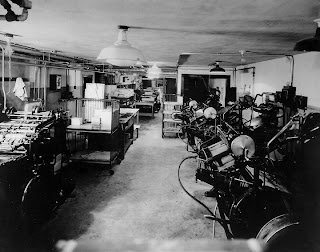 Press room in the basement of Wells Printing