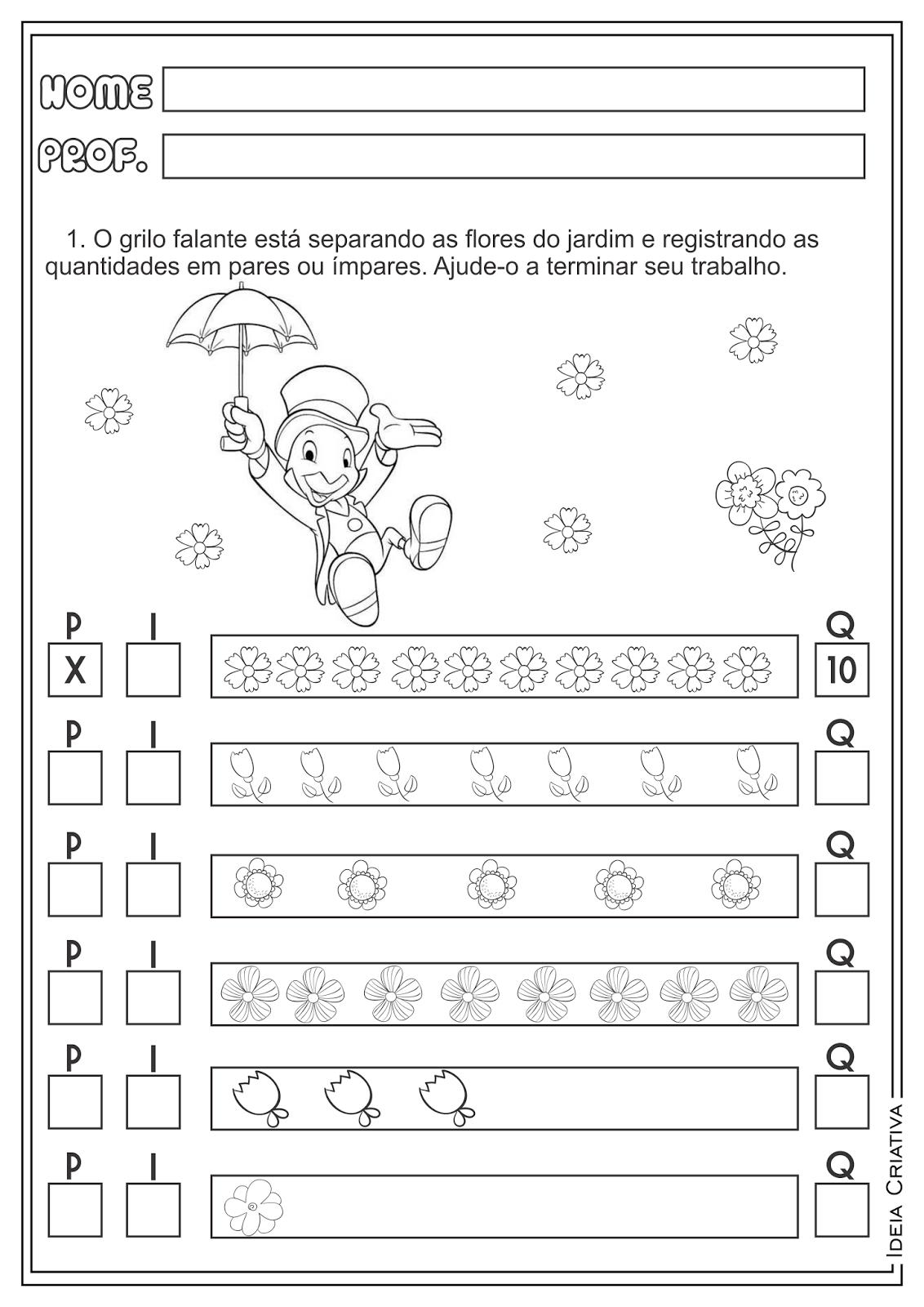 Atividades Pinóquio Produção de Texto Números Pares e Ímpares