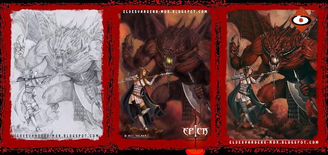 Proceso de ilustración hecha por ªRU-MOR de personaje Oni para ÉPICA: Edades Oscuras, juego de cartas de fantasía medieval y rol