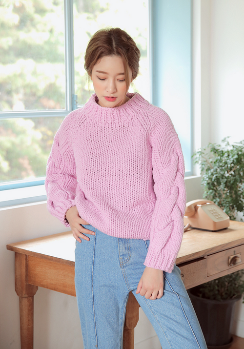 Braid Knit Sleeve Accent Sweater