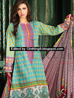 Lala Classic Cotton Embroidered Suits 2015