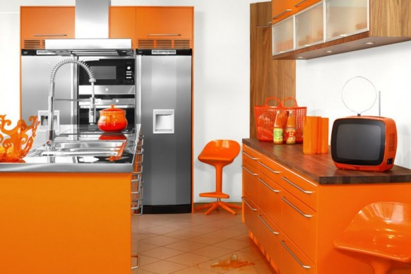 Narrow Bright Orange Kitchen With Many Cabinets