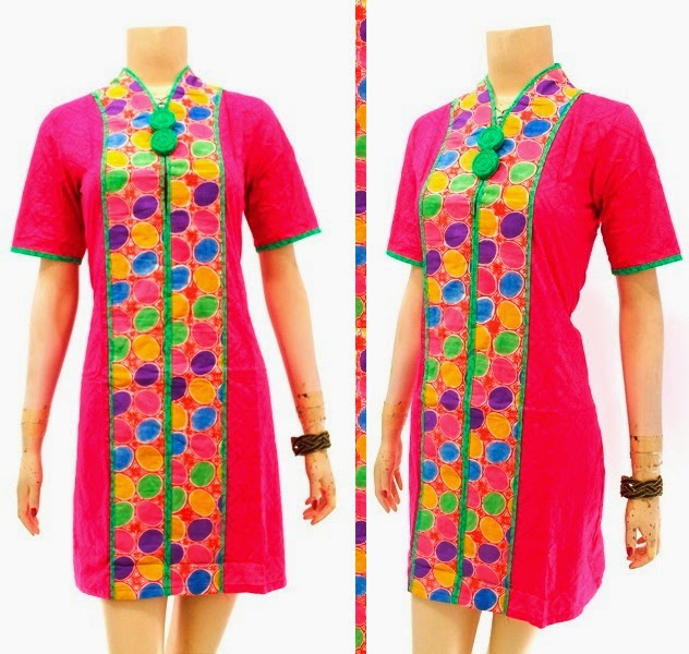 DB3747 Model Baju Dress Batik Modern Terbaru 2014