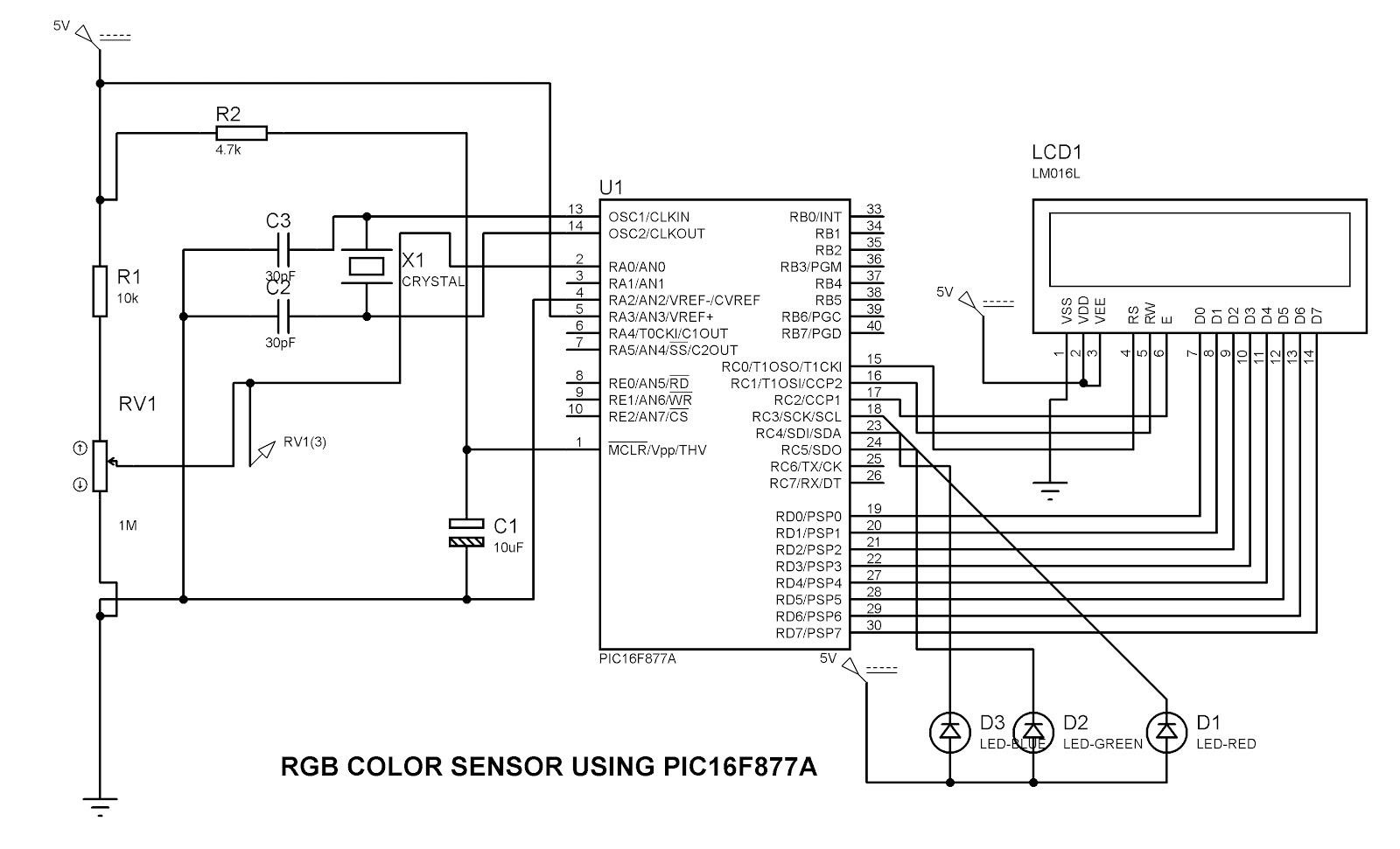 rgb color sensor using pic16f877a