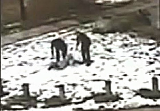 Police throw 12-year-old Tamir Rice's 14-year-old sister to the ground when she tried to assist her brother after he was shot by police.  The video clearly shows the cops started shooting as soon as they arrived - They originally claimed they ordered the boy to drop the toy gun three times. (Screen shot from video)