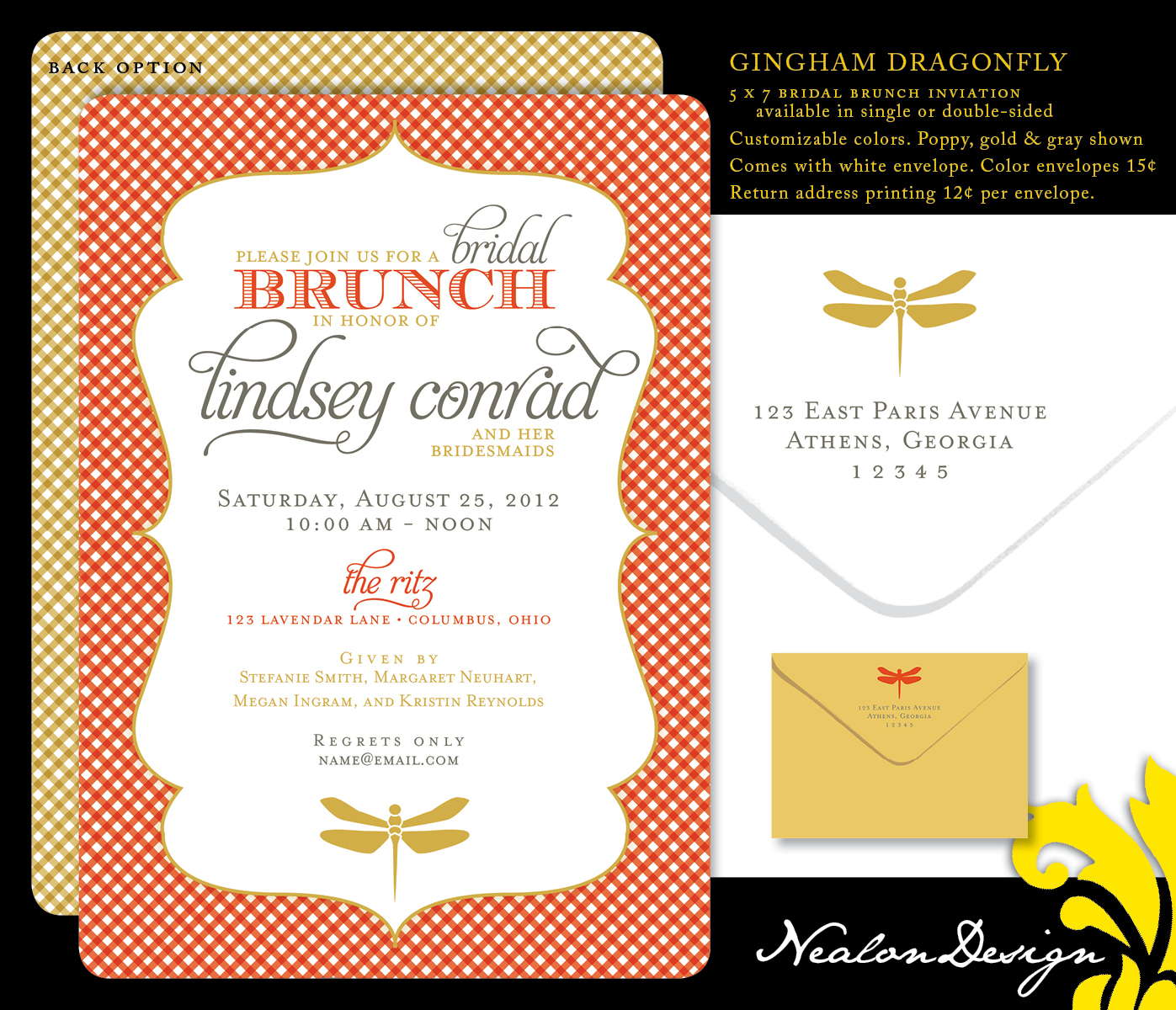 Nealon Design: Gingham Dragonfly — Bridal Brunch